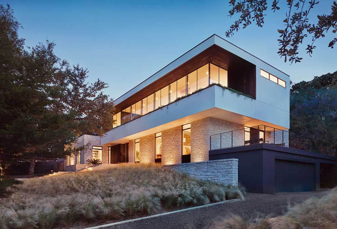 Cantilevered Second Floor: Treetops House Austin Texas by Specht Architects Modern Home Photo