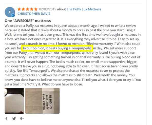 Puffy Mattress Raving Reviews 5 stars