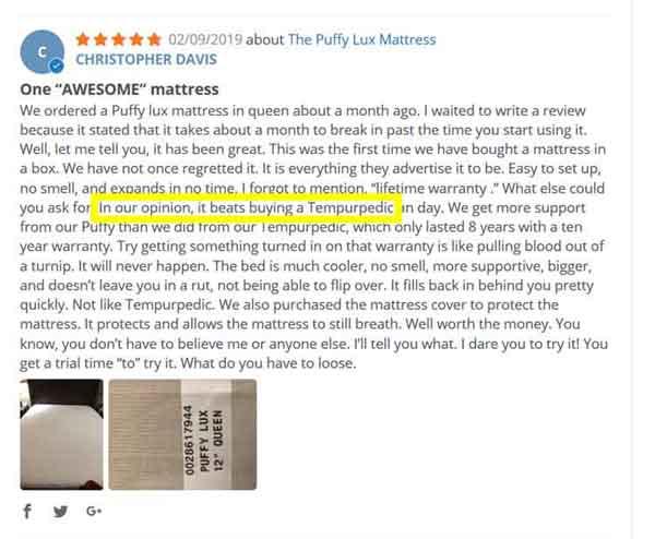 Puffy Mattress Raving Reviews 5 stars