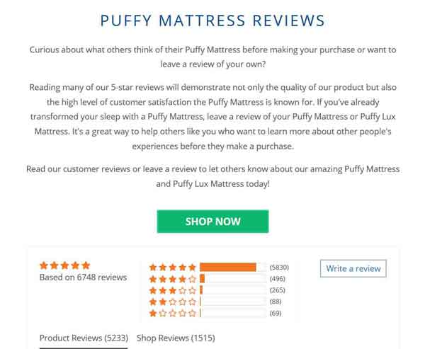 Puffy Mattress Review Summary