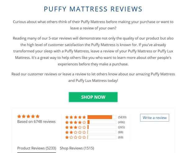 Puffy Mattress Review Summary