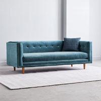 """west-elm-bradford-82-inch-sofa-blue-mod-velvet West Elm Bradford 82"""" inch Sofa in Blue Modern Velvet"""