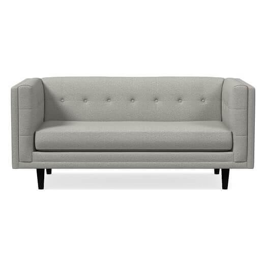 West Elm Bradford 66 inch Sofa Modern Twill Platinum