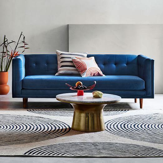 West Elm Bradford 82 inch Sofa Blue Modern Velvet Reviews