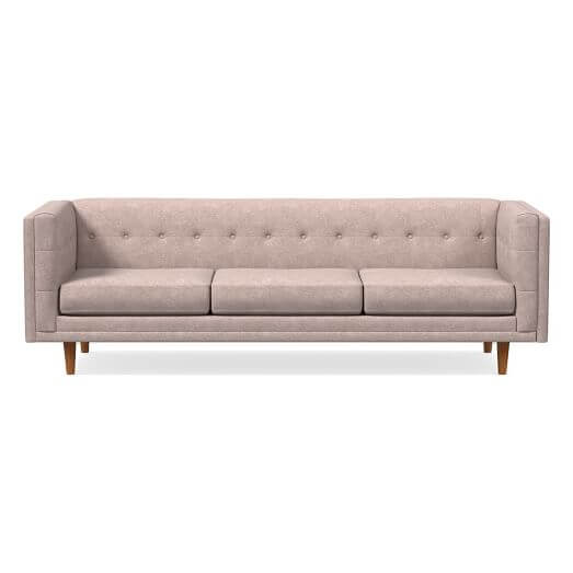 West Elm Bradford 92 inch Modern Sofa in Distressed Velvet Light Pink