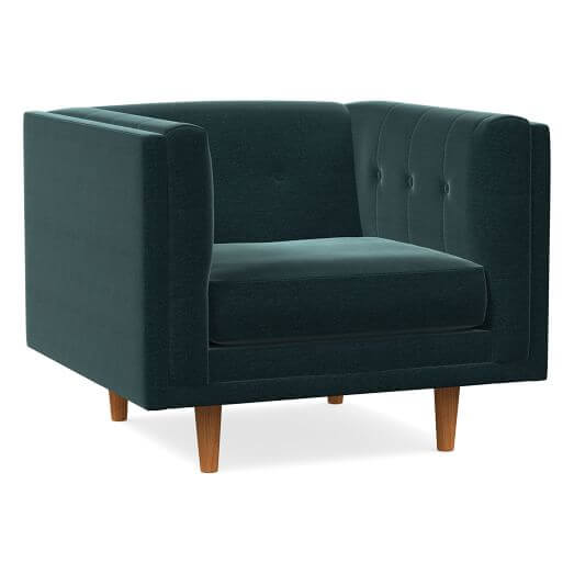 West Elm Bradford Modern Chair in Distressed Velvet Peacock