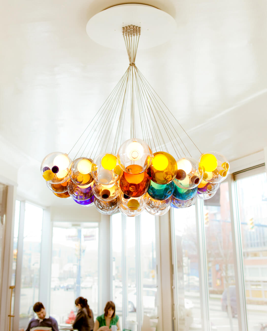 A photo of one of the Cluster hanging lights from the 28 Series from Bocci Design