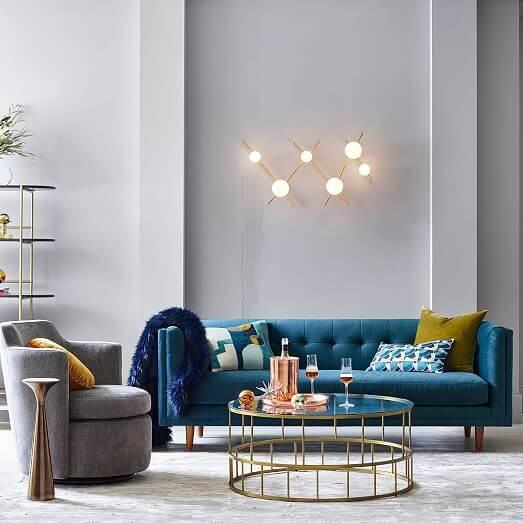 """West Elm Bradford 82"""" inch Sofa in Blue Modern Velvet"""